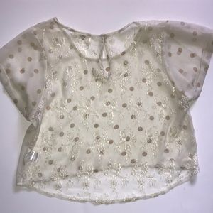 LF Millau crop top mesh floral top size small
